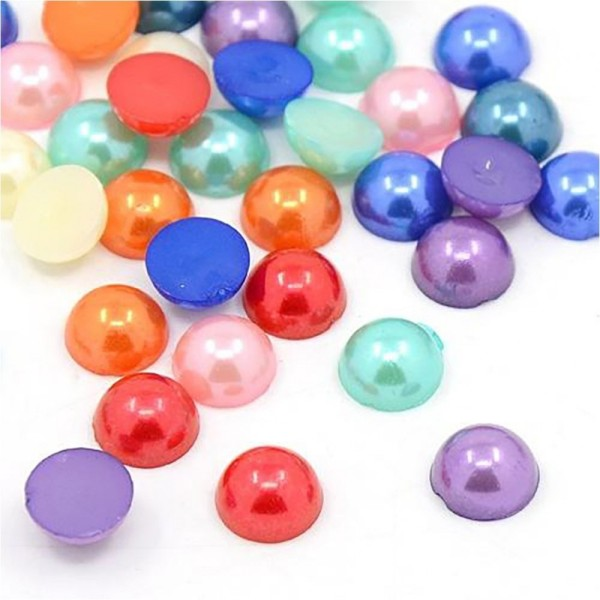 Accessoires création boite de cabochons colorés et nacrés 10 x 5 mm (272 pièces) Multicolore - Photo n°1