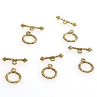 Accessoires création fermoir t toggle parchemin en alliage 13 mm (10 pièces) Doré