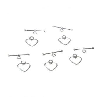 Accessoires création fermoir t toggle c 1/2 ur simple 14 x 12 mm (10 pièces) Argenté