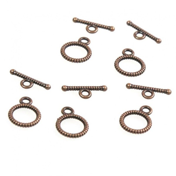 Accessoires création fermoir t toggle strié pour bijoux 10,5 mm (10 pièces) Cuivre - Photo n°1
