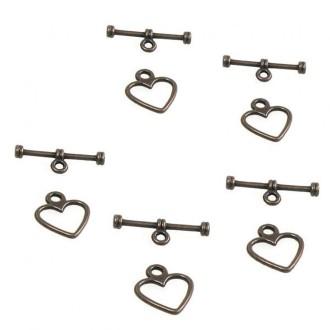 Accessoires création fermoir t toggle c 1/2 ur simple 14 x 12 mm (10 pièces) Cuivre