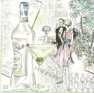 4 Serviettes en papier La vie est belle Cote D'Azur Format Lunch