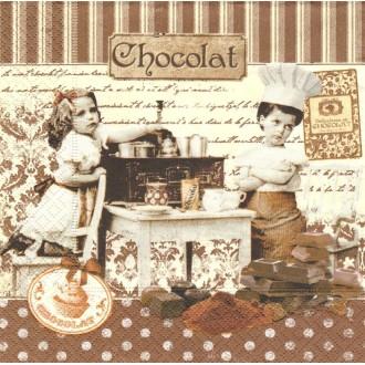 4 Serviettes en papier Ma^tres Chocolatiers Format Lunch
