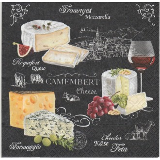 4 Serviettes en papier Fromage Vin Raisin Format Lunch