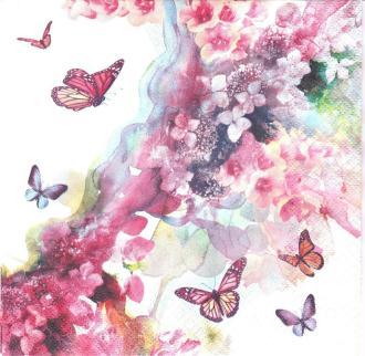 4 Serviettes en papier Rêve Papillons Format Lunch