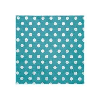 Serviette en papier turquoise à pois en papier