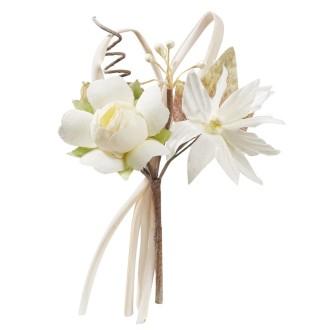 Mini bouquet rose tissu ivoire 10cm