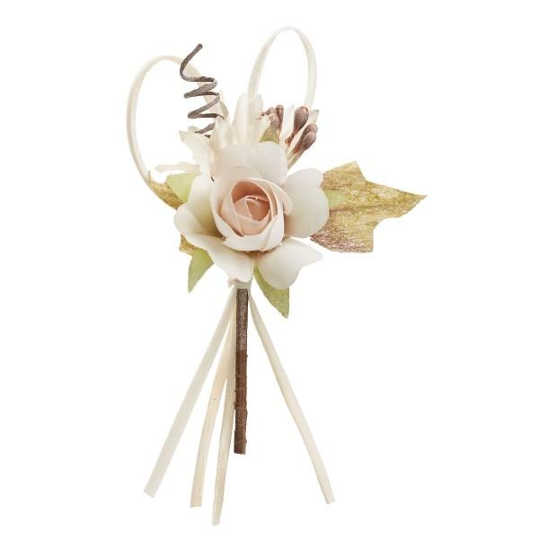 Mini bouquet rose tissu bois de rose 10cm - Photo n°1