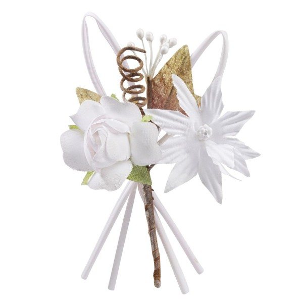 Mini bouquet de rose tissu blanc 10cm - Photo n°1
