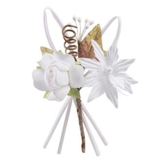 Mini bouquet de rose tissu blanc 10cm
