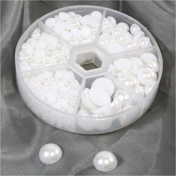 Kit cabochons acryliques 4 à 12 mm (650 pièces) Blanc - Photo n°1