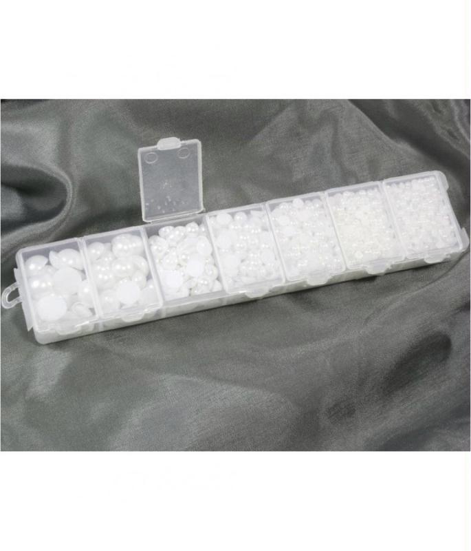 Accessoires création kit cabochons perles crème plusieurs tailles (1000 pièces) - Photo n°2