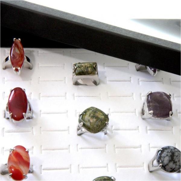 Porte bijoux boite à bague plateau carton (100 bagues) Blanc - Photo n°2
