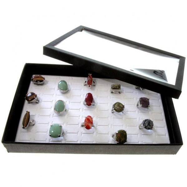Porte bijoux boite à bague plateau carton (100 bagues) Blanc - Photo n°1