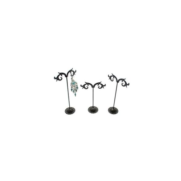 Lot de 3 porte boucles d'oreilles (12 paires) métal Noir - Photo n°1