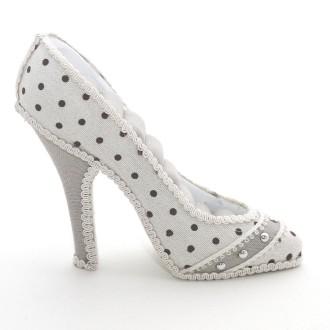 Porte bijoux bagues chaussure escarpin motif pois Beige
