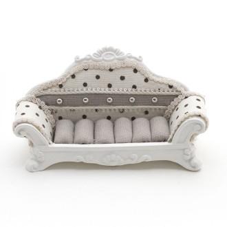 Porte bijoux bagues canapé sofa à pois - Présentoirs pour bijoux Beige