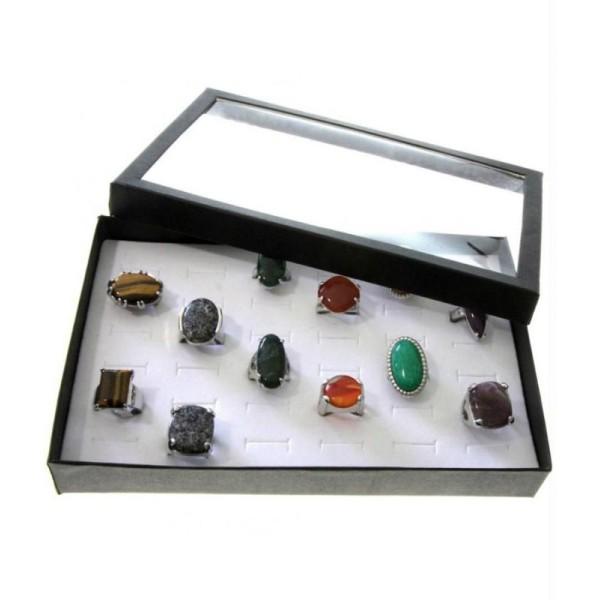 Porte bijoux boite à bague plateau carton avec couvercle (36 bagues) blanc - Photo n°1