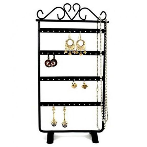 Porte bijoux porte boucle d'oreille cadre baroque (24 paires) Noir - Photo n°1