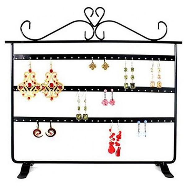 Porte bijoux cadre présentoir boucle d'oreille window (32 paires) Noir - Photo n°1