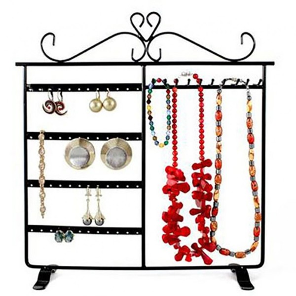 Porte bijoux dressing boucle d'oreille et collier Noir - Photo n°1