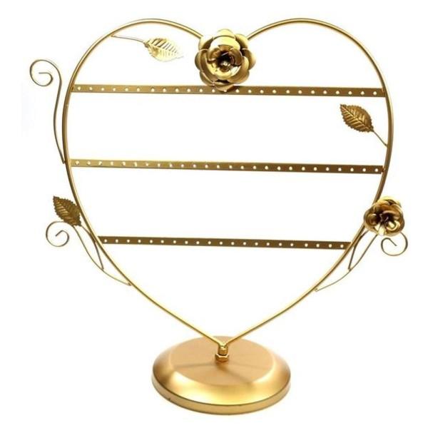 Porte bijoux porte boucle d'oreille coeur romantique (30 paires) Doré - Photo n°1