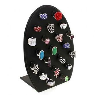 Porte bijoux présentoir pour bagues vertical ovale (21 bagues) Noir