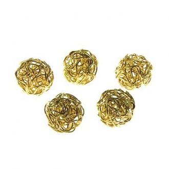 Perles rondes 18 mm fabrication bijoux (5 pièces) Doré