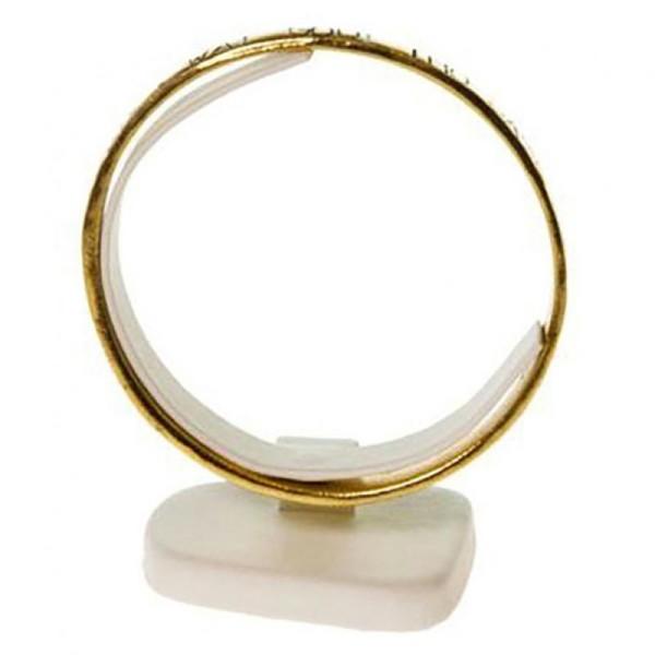 Porte bijoux présentoir mini plot trapèze support bracelet jonc Ivoire - Photo n°1