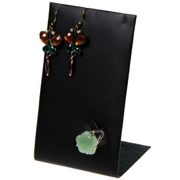 Porte bijoux mini support bijoux presentoir pour parure simili cuir 13 cm Noir - Photo n°1