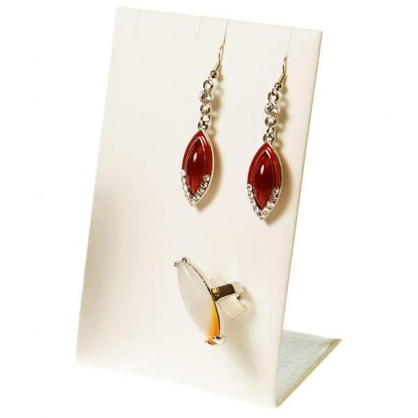 Porte bijoux mini support bijoux presentoir pour parure simili cuir 13 cm Ivoire - Photo n°1