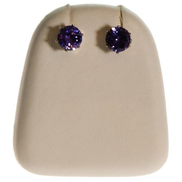 Porte bijoux mini support boucles d'oreilles simili cuir (1 paire) h 5,5 cm Ivoire - Photo n°1