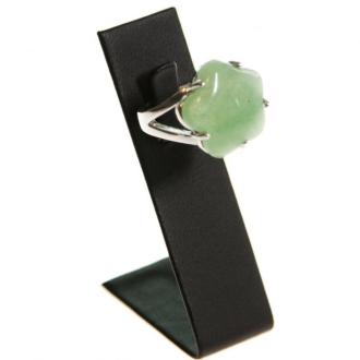 Porte bijoux mini présentoir bague long simili cuir (1 bague) h 6 cm Noir