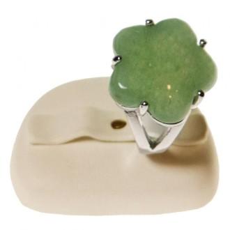 Porte bijoux mini presentoir alliance ovale en simili cuir (2 bagues) Ivoire