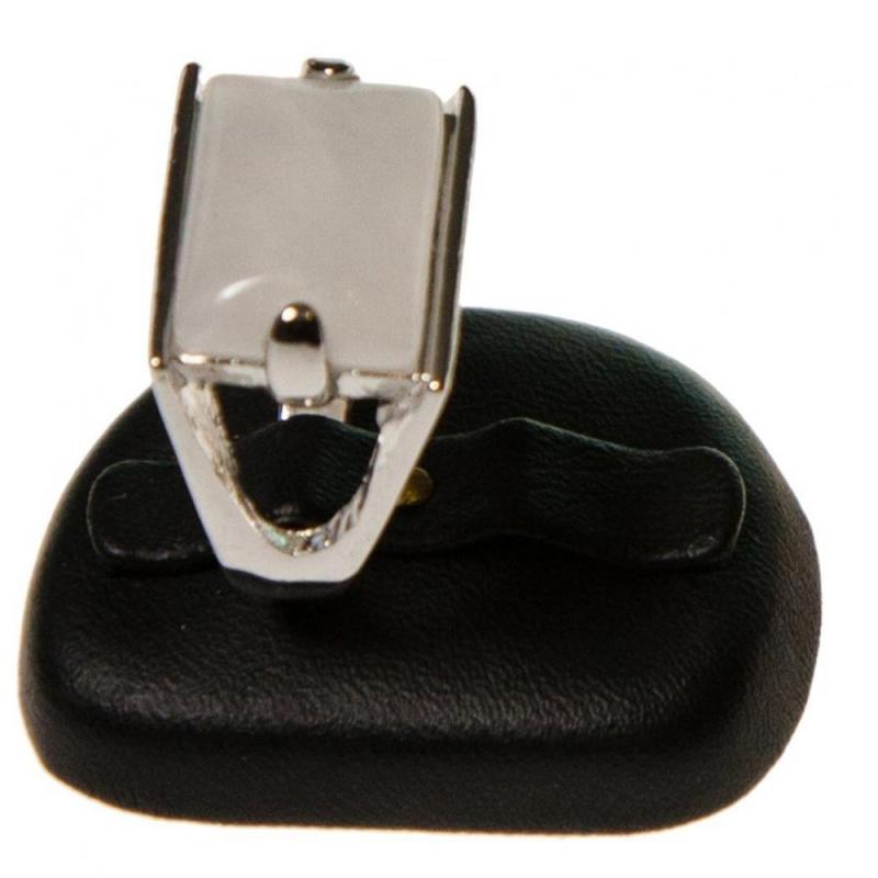 Porte bijoux mini presentoir alliance ovale en simili cuir (2 bagues) Noir - Photo n°1