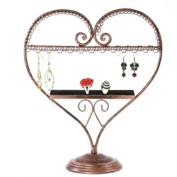 Porte bijoux coeur boucle d'oreille et bagues Cuivre - Photo n°1