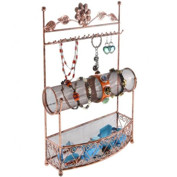 Porte bijoux porte bijoux hilda avec panier et jonc pour bijoux Cuivre - Photo n°2