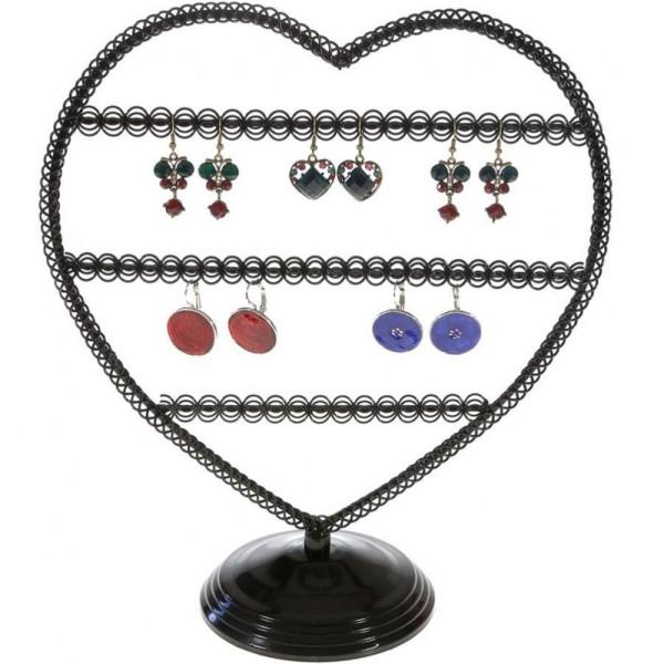 Porte bijoux porte boucle d'oreille amour (25 paires) Noir - Photo n°1