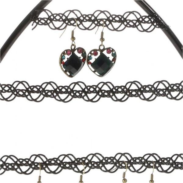Porte bijoux porte boucle d'oreille amande Noir - Photo n°2