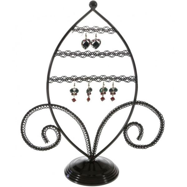 Porte bijoux porte boucle d'oreille amande Noir - Photo n°1