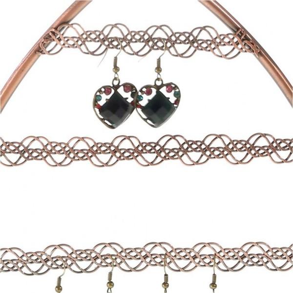 Porte bijoux porte boucle d'oreille amande Cuivre - Photo n°2