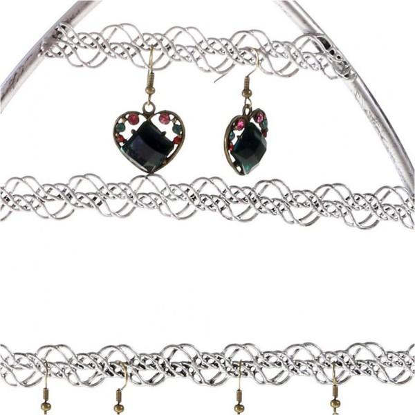 Porte bijoux porte boucle d'oreille amande Gris patiné - Photo n°2