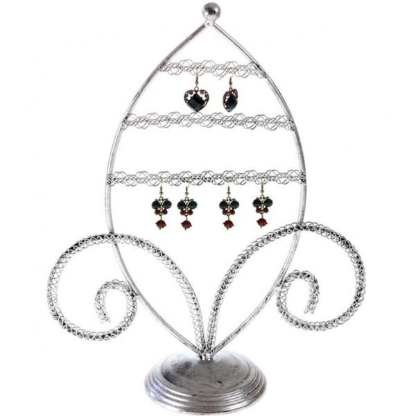 Porte bijoux porte boucle d'oreille amande Gris patiné - Photo n°1