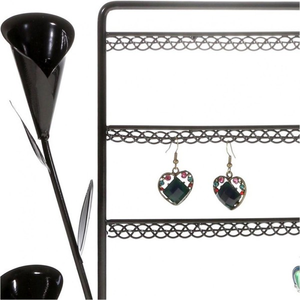 Porte bijoux presentoir boucle d'oreille fleur arum (40 paires) Noir - Photo n°2
