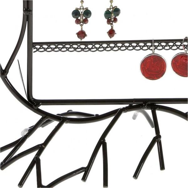 Porte bijoux presentoir boucle d'oreille fleur arum (40 paires) Noir - Photo n°3
