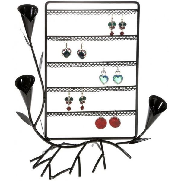 Porte bijoux presentoir boucle d'oreille fleur arum (40 paires) Noir - Photo n°1