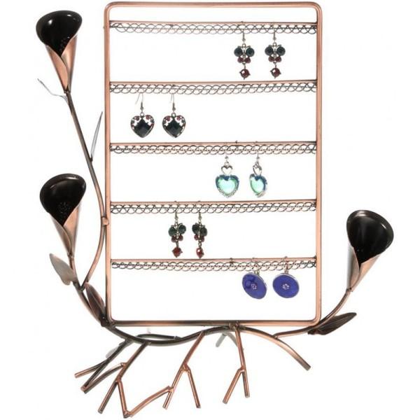Porte bijoux presentoir boucle d'oreille fleur arum (40 paires) Cuivre - Photo n°1