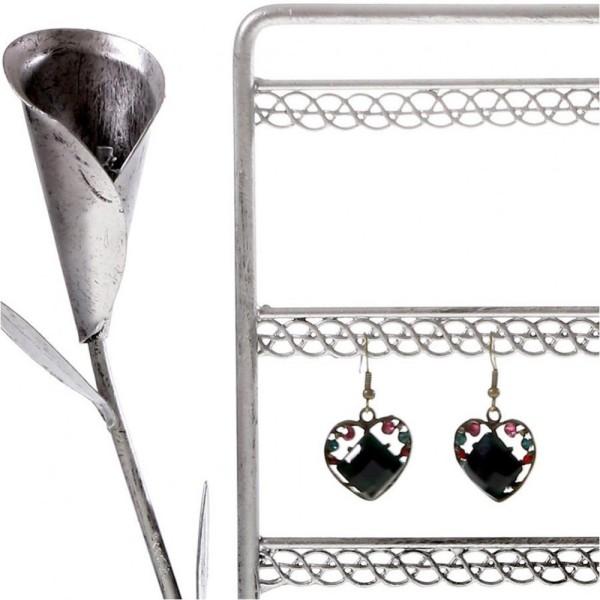 Porte bijoux presentoir boucle d'oreille fleur arum (40 paires) Gris patiné - Photo n°2