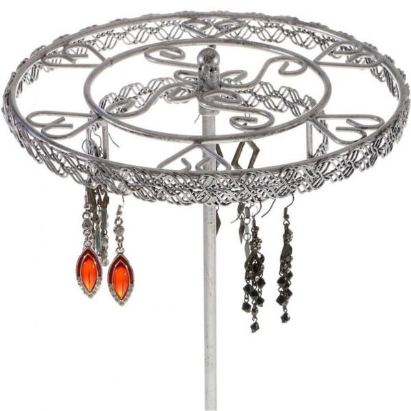 Porte bijoux manège à boucles d'oreilles asia (54 paires) Gris patiné - Photo n°2