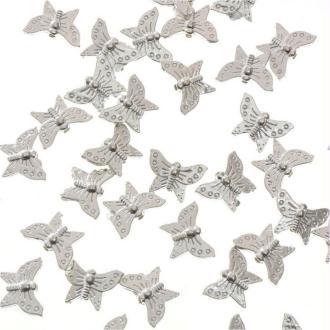 Perles fantaisie papillon (5 pièces) - marque presentoirs-pour-bijoux Argenté